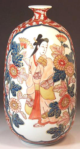 Fujii Kinsai Arita Japan - Reproduced Koimari Somenishiki Kinsai Genroku beauty  Vase  22.50 cm - Free Shipping