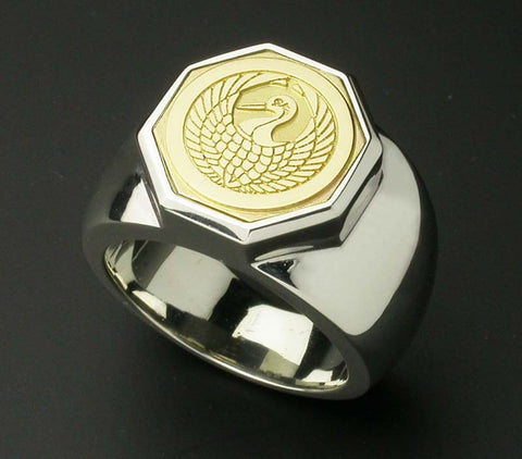 Saito - 18Kt Gold Family Crest - Octagon shape Ring Silver 925 - Free Shipping