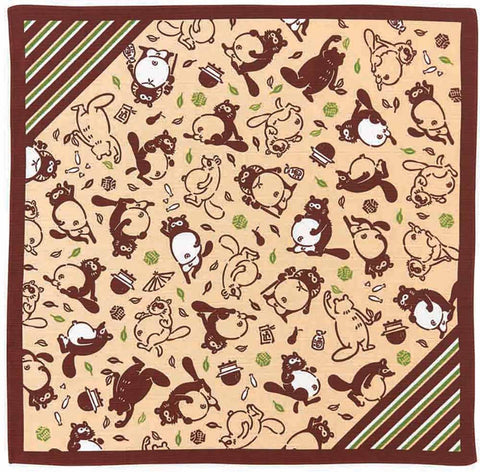 Kenema - Ponpoko Tanuki (Raccoon) Furoshiki (Japanese Wrapping Cloth)