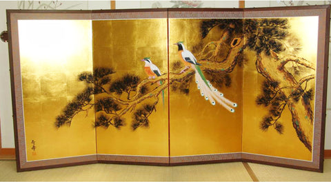 Japanese Traditional Hand Paint Byobu (Gold Leaf Folding Screen) - T 15 - Free Shipping