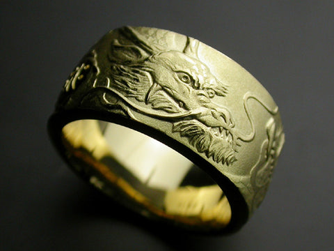Saito - Rise Dragon W/Bonji Gold Ring (18Kt Gold)  (55.50 mm to 59.70 mm inner circumference) - Free Shipping