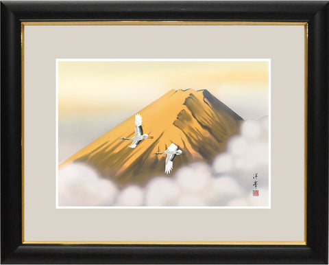 Sankoh Framed Mt. Fuji - G4-BF013L - Ogon Fuji (Golden Mt. Fuji & pair of cranes)