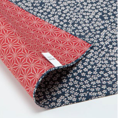 Komon - Double-Sided Dyeing - Kozakura x Asanoha (Blue x Red) - Furoshiki (Japanese Wrapping Cloth)