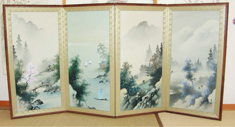 Japanese Traditional Hand Paint Byobu (Silk Folding Screen) - T 16 - Free Shipping