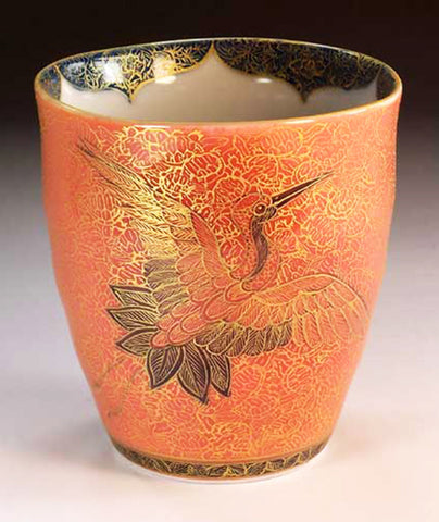 Fujii Kinsai Arita Japan - Yurisai Kinran  Japanese Tea cup (Unomi) Crane & Turtle (Superlative Collection) - Free Shipping