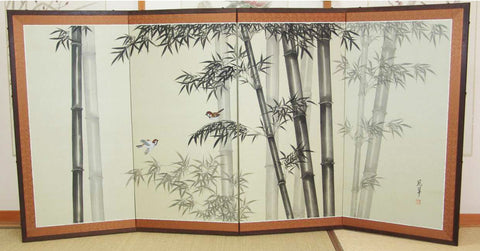 Japanese Traditional Hand Paint Byobu (Silk Folding Screen) - T 5 - Free Shipping