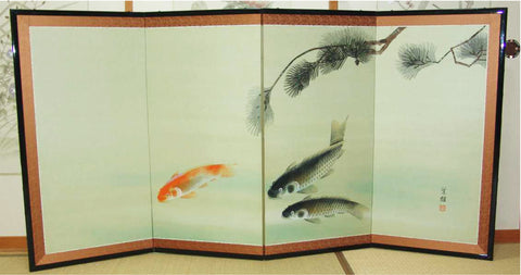 Japanese Traditional Hand Paint Byobu (Silk Folding Screen) - T 12 - Free Shipping
