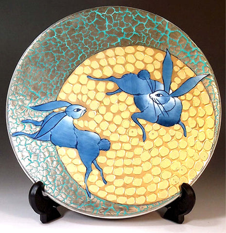 Fujii Kinsai Arita Japan - Somenishiki Platinum & Gold Rabbit  ceramic plate picture #3 - Free Shipping