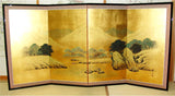 Japanese Traditional Hand Paint Byobu (Gold Leaf Folding Screen) - T 31 - Free Shipping