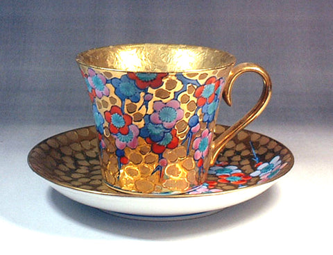 Fujii Kinsai Arita Japan - Somenishiki Golden Plum Cup & Saucer - Free Shipping
