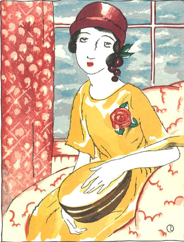 Takehisa Yumeji- Mandorinu (Girl with a mandolin) - Free Shipping