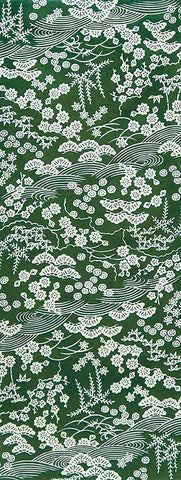 Wafuka -  Sho Chiku Bai  Green (The dyed Tenugui) - Japanese traditional Tenugui