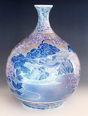 Fujii Kinsai Arita Japan - Yurisai Kinran Oshidori Ornamental vase 29.40 cm (Superlative Collection) - Free Shipping