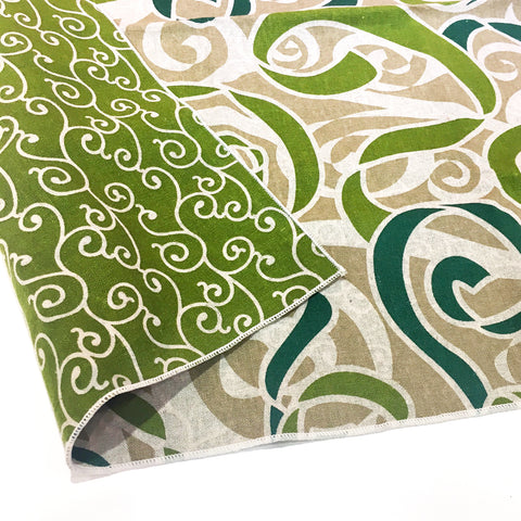 AtarashikiInishie -  Double-Sided Dyeing - Karakusa Green - Furoshiki (Japanese Wrapping Cloth)