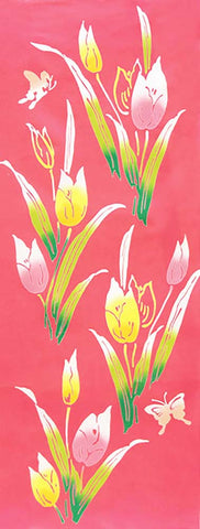 Wafuka - Tulips  (The dyed Tenugui) - Japanese traditional Tenugui