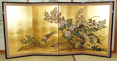 Japanese Traditional Hand Paint Byobu (Gold Leaf Folding Screen) - T 3 - Free Shipping