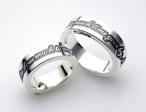 "Saito - Posy Silver 950 Ring - Pair ( For You & Her ) "" No matter how much time goes by, I love you. "" - Free shipping"