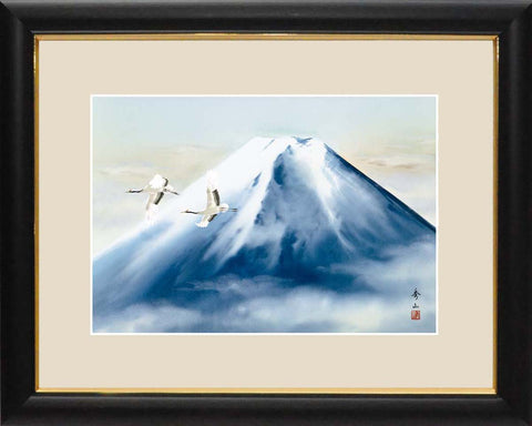 Sankoh Framed Mt. Fuji - G4-BF027L - Reimei Fuji (The morning Mt. Fuji & cranes)
