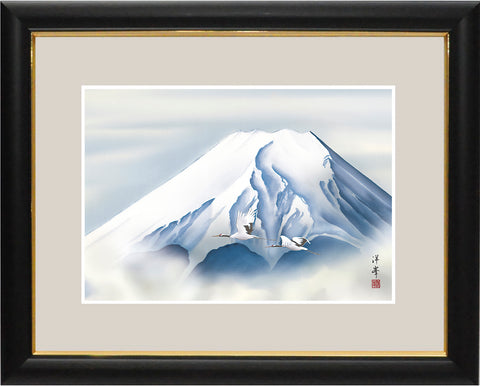 Sankoh Framed Mt. Fuji - G4-BF014L - Reimei Fuji (The morning Mt. Fuji & pair of cranes)