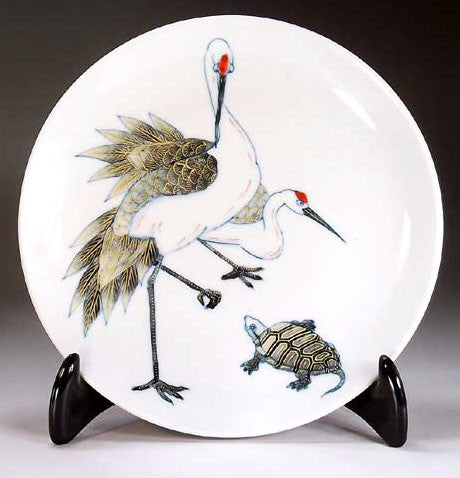 Fujii Kinsai Arita Japan - Somenishiki Kinsai Crane & Turtle Ornamental plate 19.00 cm  - Free Shipping