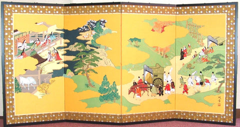 Miwa Eisho - Japanese Traditional Hand Paint Byobu (Gold Silk Folding Screen) - X168 - Free Shipping