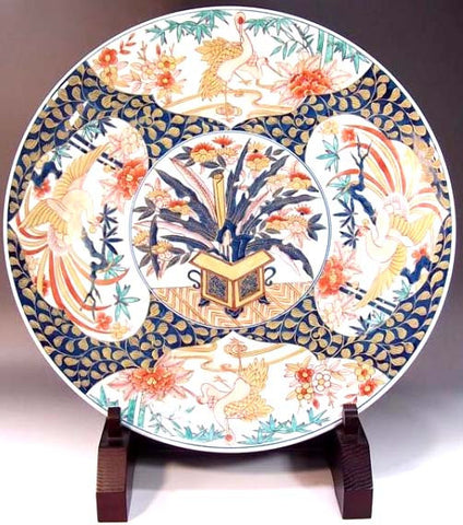 Fujii Kinsai Arita Japan - Reproduced Koimari Somenishiki Kinsai Flower & Birds painting  Ornamental plate 46.50 cm - Free Shipping