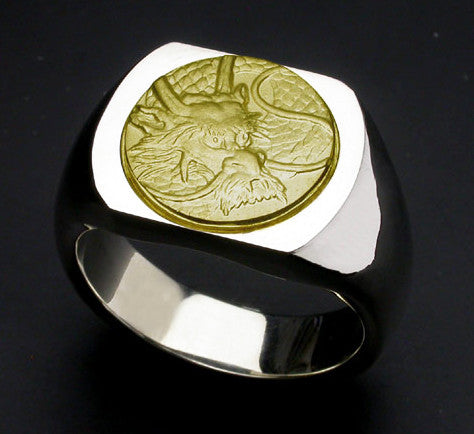 Saito - Dragon Crest 18Kt gold emblem Seal Stand Silver Ring  - Free Shipping