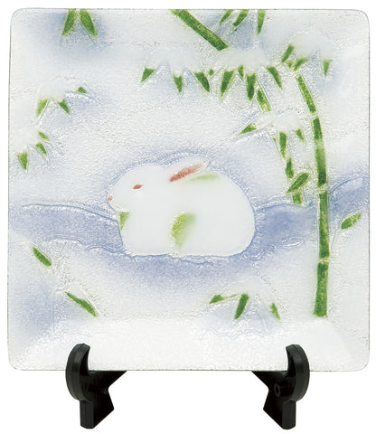 Saikosha - #003-16 Winter Rabbit & Bamboo (Cloisonné ware ornamental plate) - Free Shipping