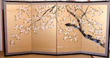 Tominaga Jyuho - Japanese Traditional Hand Paint Byobu (Gold Silk Folding Screen) - X133 - Free Shipping