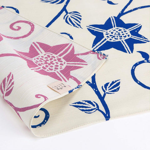 Omotenashi -  Double-Sided Dyeing Bara Tessen Blue/Pink - Furoshiki (Japanese Wrapping Cloth)