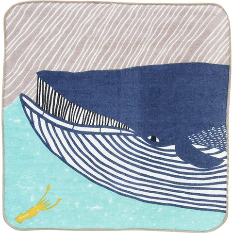 Kata Kata  soft towel 100% cotton - Fin whale  Blue  25 x 25 cm