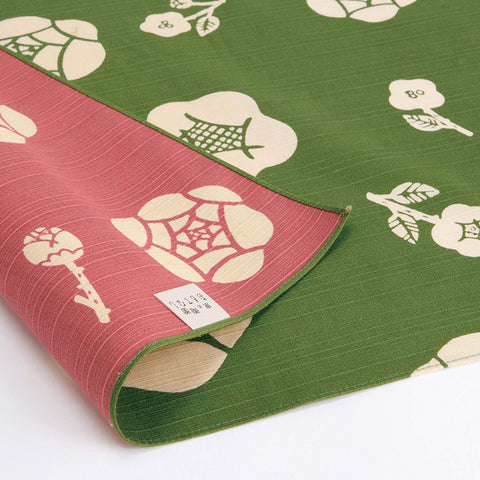 Omotenashi -  Double-Sided Dyeing Bara (Rose) Green/Pink - Furoshiki (Japanese Wrapping Cloth)