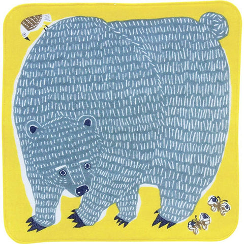 Kata Kata  soft towel 100% cotton - Bear & Bird Yellow   25 x 25 cm