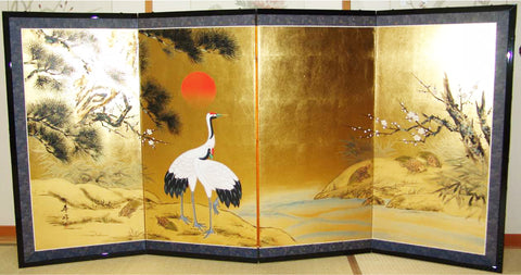 Japanese Traditional Hand Paint Byobu (Gold Leaf Folding Screen) - T 28 - Free Shipping