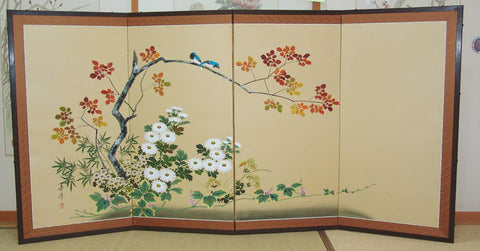 Japanese Traditional Hand Paint Byobu (Silk Folding Screen) - T 4 - Free Shipping