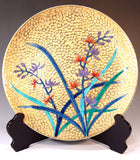 Fujii Kinsai Arita Japan - Somenishiki Golden Ran (Orchid)  Ornamental plate 31.00 cm - Free Shipping
