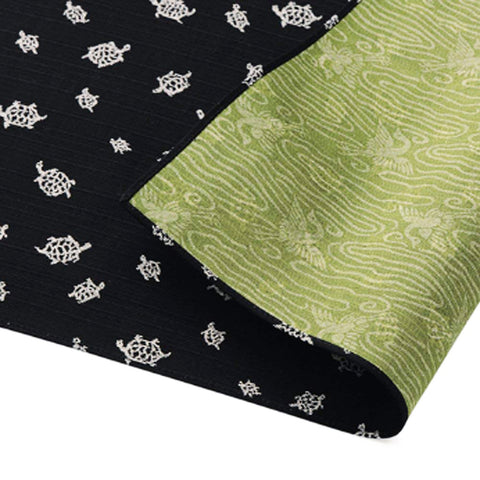 Fukumusubi -  Double-Sided Dyeing - Turtle  Black/Green - Furoshiki (Japanese Wrapping Cloth)
