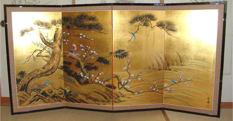 Japanese Traditional Hand Paint Byobu (Gold Leaf Folding Screen) - T 33 - Free Shipping