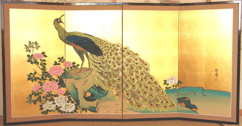 Tominaga Jyuho - Japanese Traditional Hand Paint Byobu (Gold Leaf Folding Screen) - X139 - Free Shipping
