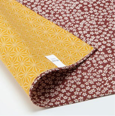 Komon - Double-Sided Dyeing - Kozakura x Asanoha (Broun x Gold Broun) - Furoshiki (Japanese Wrapping Cloth)