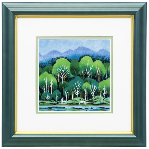 Saikosha - #012-02 Forest of White Horses (Framed Cloisonné ware) - Free Shipping