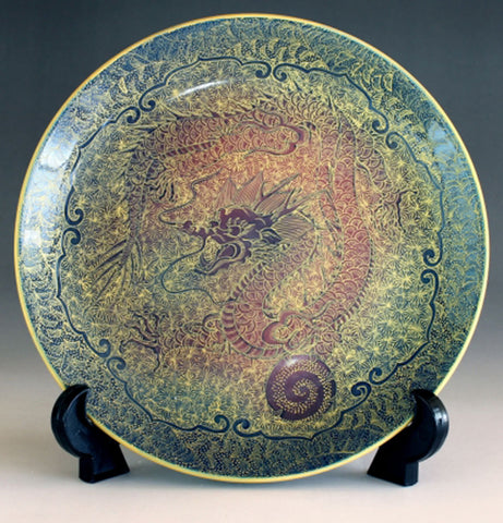 Fujii Kinsai Arita Japan - Yurisai Kinran Rise Dragon Ornamental plate 19.00 cm (Superlative Collection) - Free Shipping