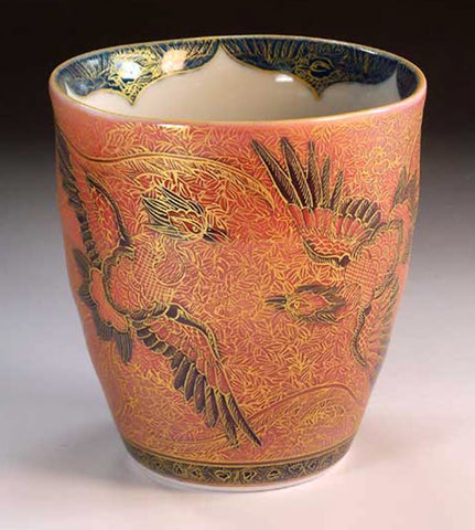 Fujii Kinsai Arita Japan - Yurisai Kinran  Japanese Tea cup (Unomi) Phoenix (Superlative Collection) - Free Shipping