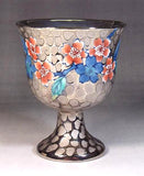 Fujii Kinsai Arita Japan - Somenishiki Platinum Sakura Wine Cup - Free shipping