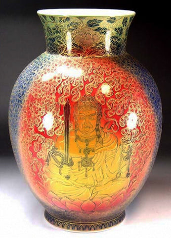 Fujii Kinsai Arita Japan - Yurisai Kinran Fudo Myo-o Ornamental vase 24.20 cm (Superlative Collection) - Free Shipping