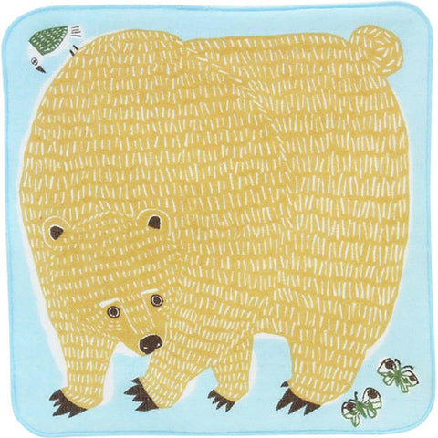 Kata Kata  soft towel 100% cotton - Bear & Bird Blue   25 x 25 cm