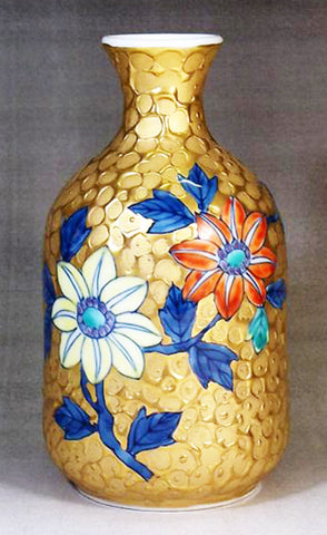 Fujii Kinsai Arita Japan - Somenishiki Golden Tessen Sake bottle (Tokkuri) - Free Shipping