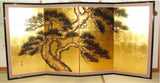 Japanese Traditional Hand Paint Byobu (Gold Leaf Folding Screen) - T 29 - Free Shipping