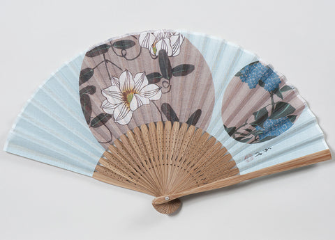 Traditional handcrafted Kyoto Ladies' Sensu - Ito Jakuchu - Tessen & Ajisai - Blue