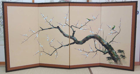 Japanese Traditional Hand Paint Byobu (Silk Folding Screen) - T 7 - Free Shipping